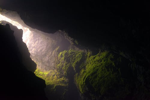 A large mountain in the dark